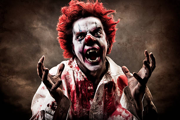 evil vampire clown - killer stock photos and pictures