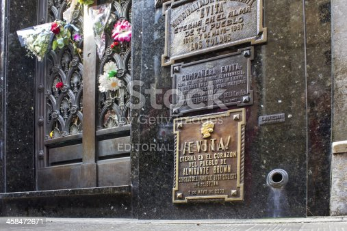 Buenos Aires, Argentina - June 13, 2013: Photo of Eva Peron's Mausoleum. Evita was an important political person of Argentina. It is located at Recoleta Cemetery, Buenos Aires.