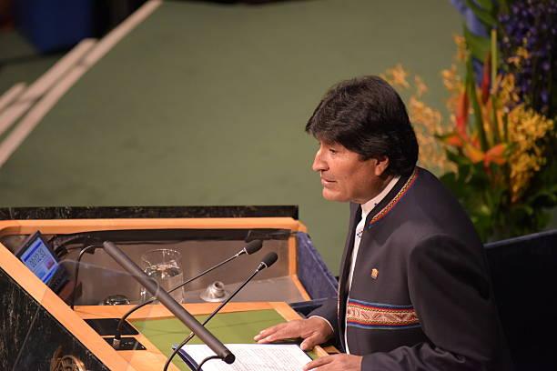 Evo Morales Ayma addresses UN stock photo