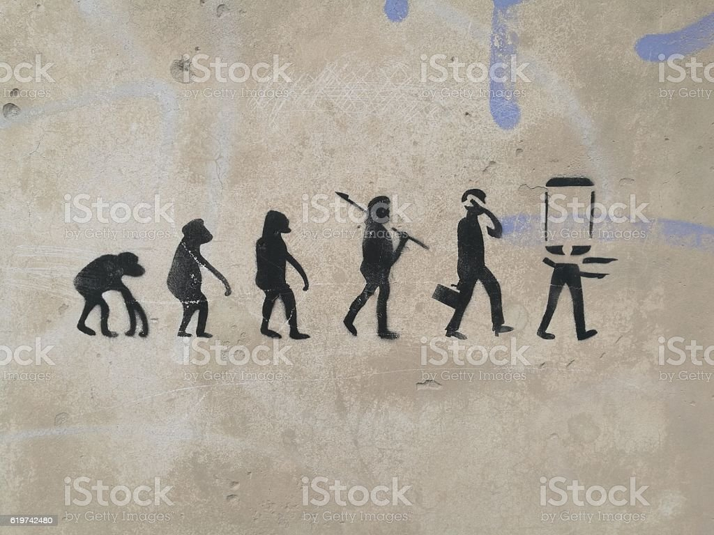 evolution man stock photo