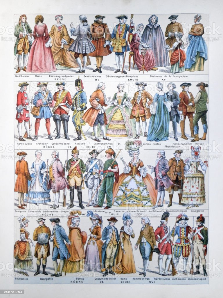 Evolution of French fashion stock photo
