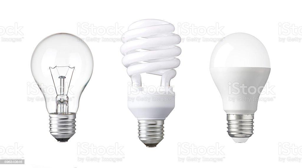 evolution of Light bulb. tungsten bulb, fluorescent bulb and LED bulb. Lizenzfreies stock-foto