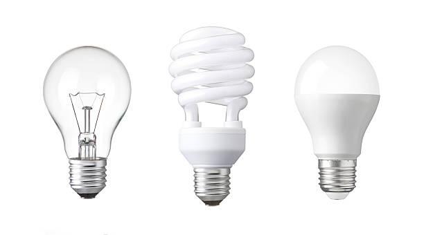 evolution of Light bulb. tungsten bulb, fluorescent bulb and LED bulb. - Photo