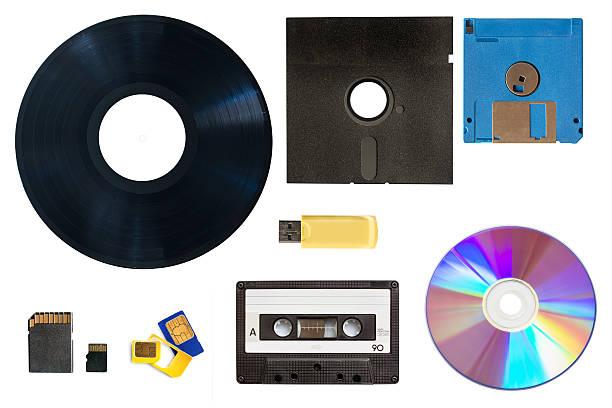 entwicklung der technologie-daten und medienaufbewahrung konzept collage - motivationsmusik stock-fotos und bilder