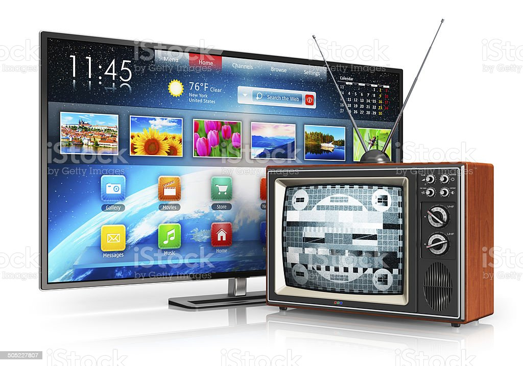 Evolution of television stock photo