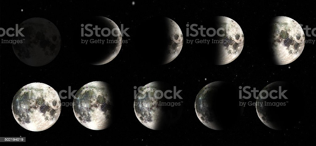 Evolution Of The Moon Through Its Phases Stock Photo More Pictures