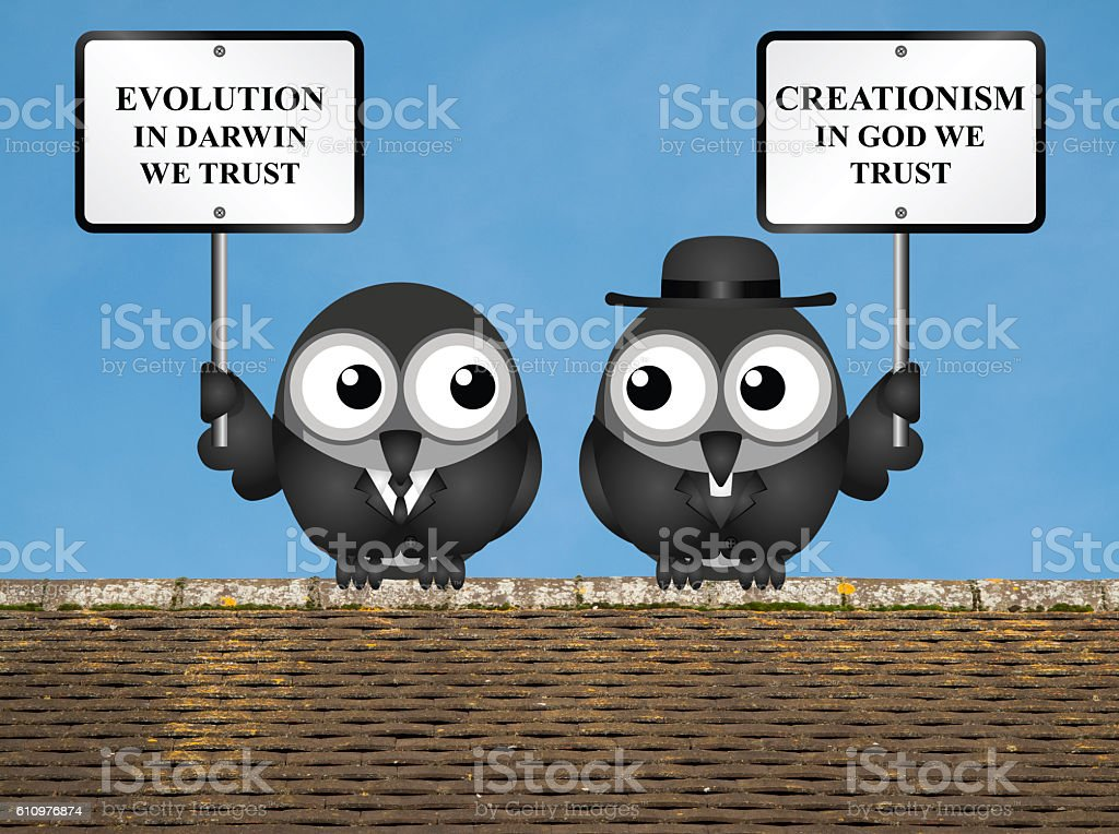 Evolution verses Creationism stock photo