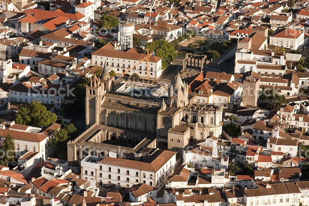 Evora Cathedral from the air stock photo