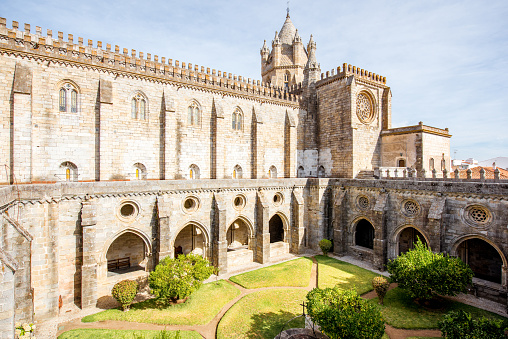View on the courtyard of the old cathedral in Evora city in Portugal