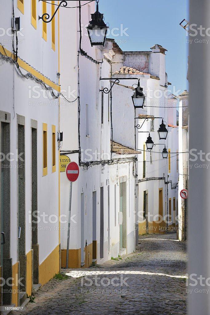 Evora old town street stok fotoğrafı
