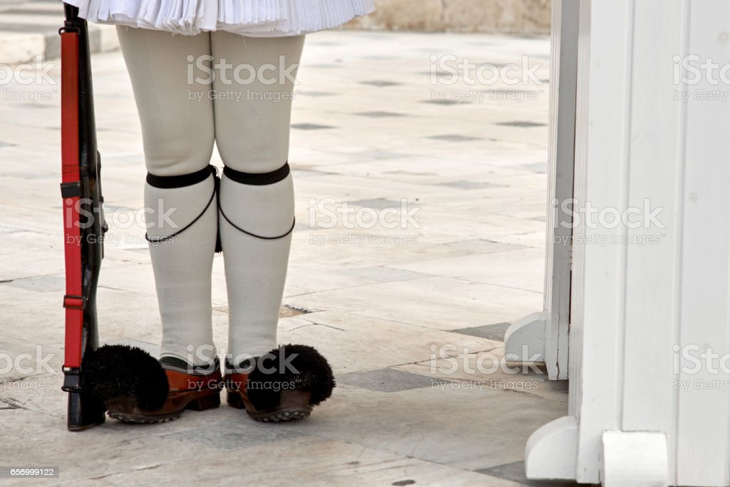 Evzonas Guardian in front of the Greek parliament stock photo