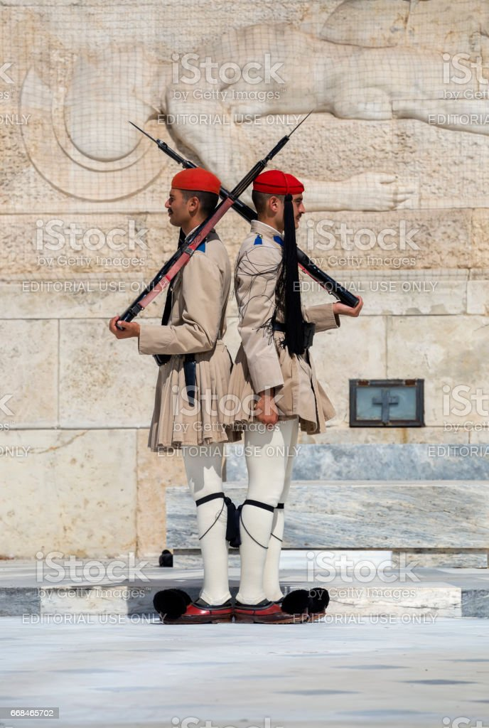 Evzone soldiers honor guard stock photo