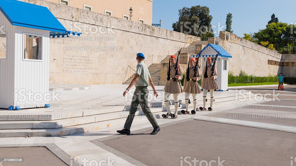 Evzone soldiers in front Parliament of Athens stock photo