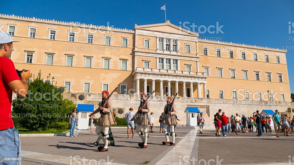 Evzones guard marching in front of the Parliament  Athens, Greece stock photo