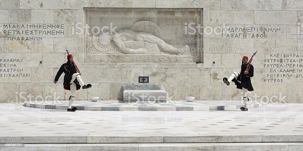Evzones in Athens, Greece stock photo