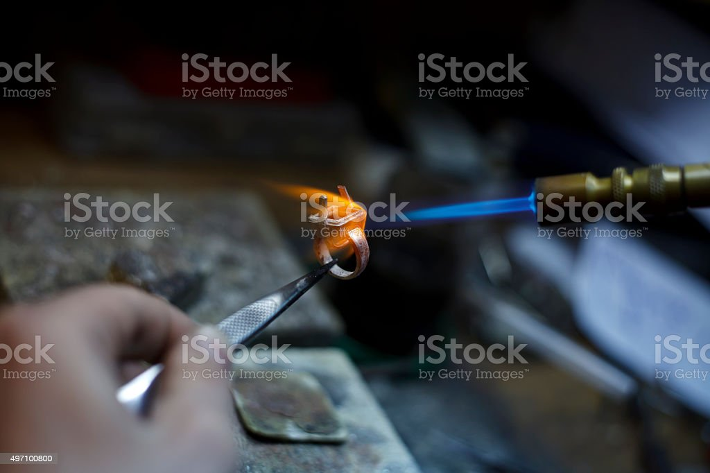 ewelry making close-up details of the production stock photo