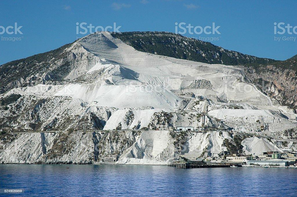 Ex cava di Pomice a Lipari stock photo