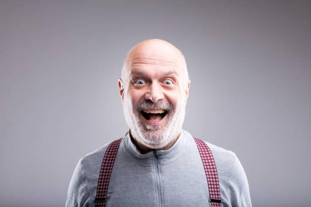 exaggerated old man smile expression - feedback icon imagens e fotografias de stock