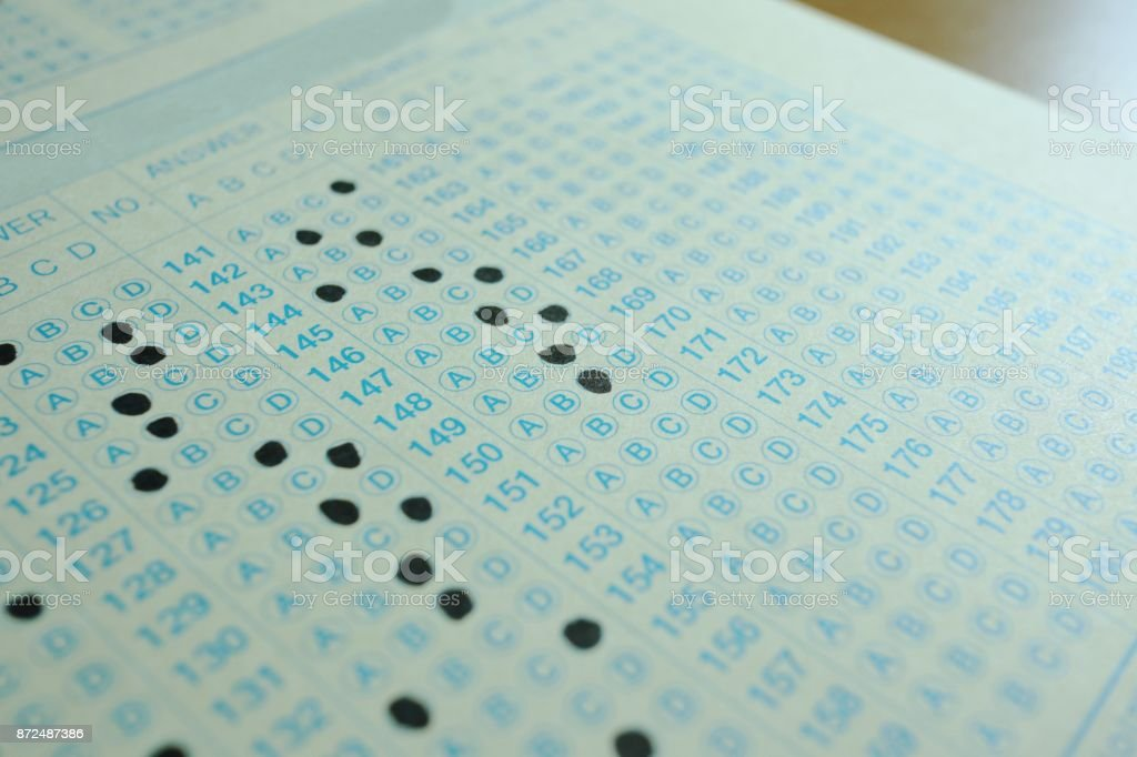 Exam answer sheet stock photo