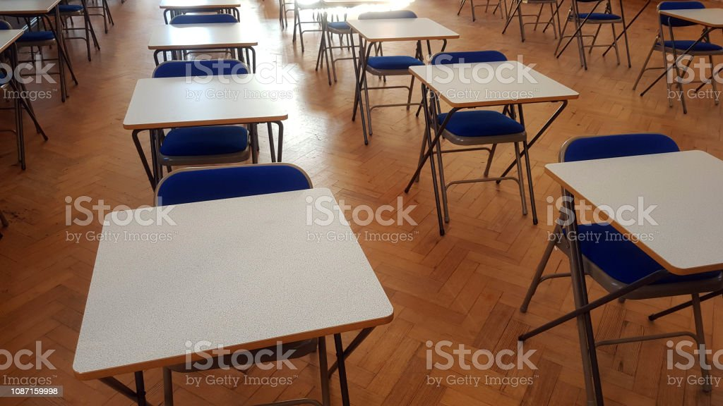 Exam desk in a hall