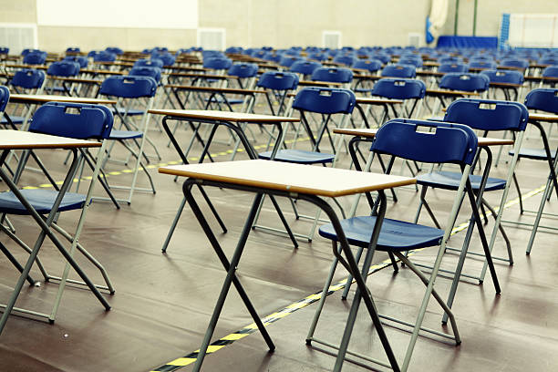 Exam hall stock photo