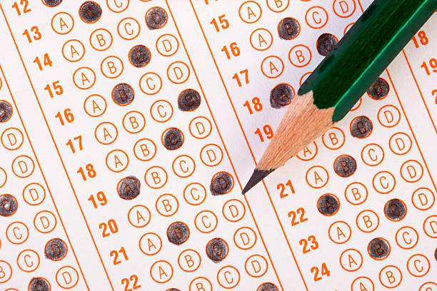Exam Filled optical form of an examination. routine stock pictures, royalty-free photos & images