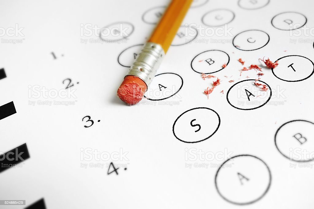 SAT exam stock photo