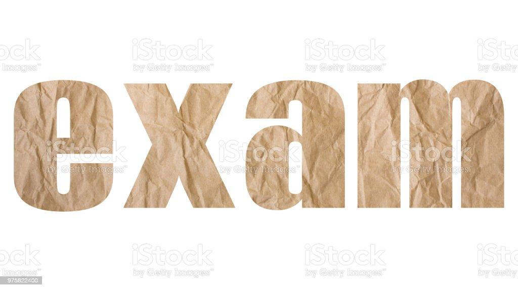 Prüfung-Wort mit faltigen Papierstruktur - Lizenzfrei Akademisches Lernen Stock-Foto