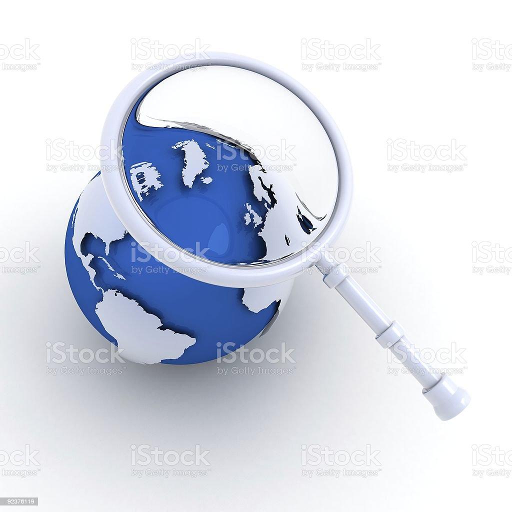 Examine the globe royalty-free stock photo