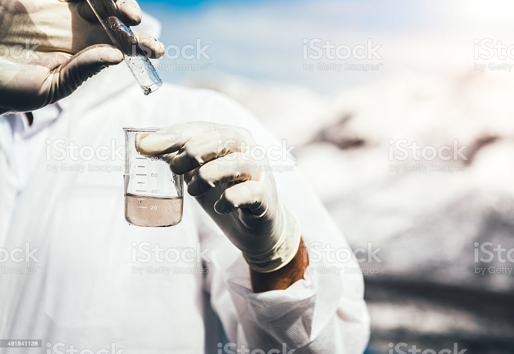 Examing Polluted Water stock photo