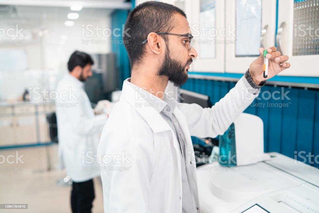 Examen de muestras de sangre. - foto de stock