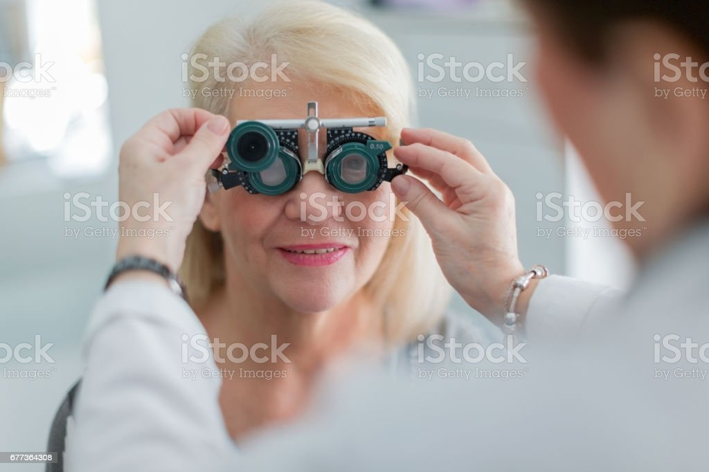 Examining patient vision stock photo