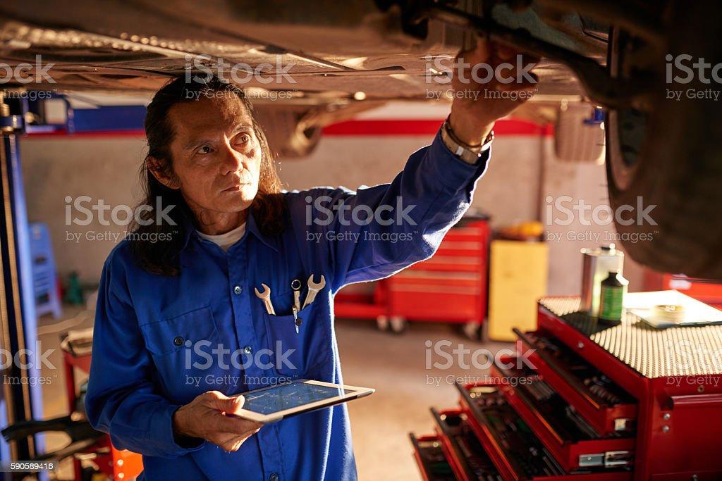 Examining vehicle stock photo