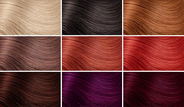 Beispiel für verschiedene Haarbehandlungen Farben – Foto