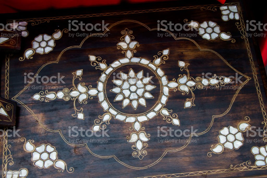 Example of Mother of Pearl inlays stock photo
