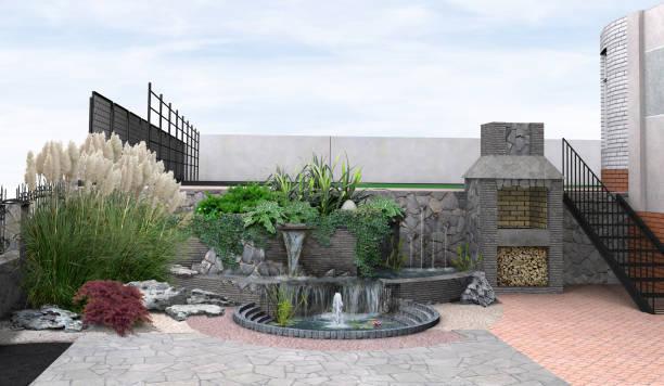 beispiel für multi-level-landschaftsbau, 3d render - grillstein stock-fotos und bilder