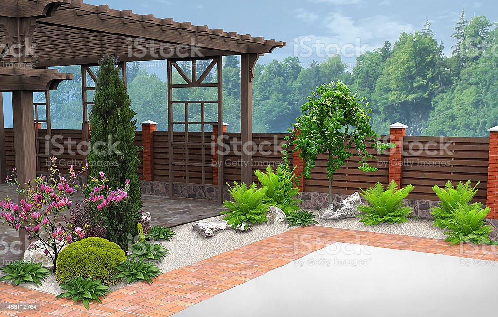 Example of patio decorating and grouping plants, 3D Render stock photo