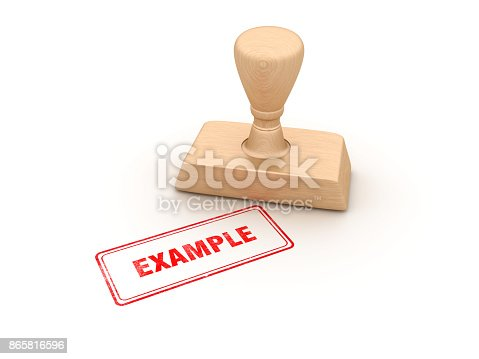 Example Rubber Stamp - White Background - 3D Rendering