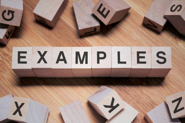 Examples Word In Wooden Cube stock photo