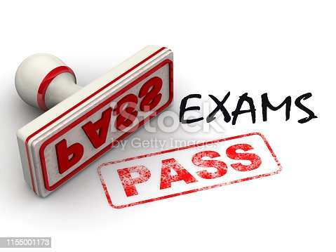 Black word EXAMS and red rubber stamp and print PASS on white surface. Isolated. 3D Illustration