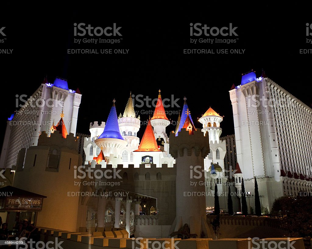 Excalibur Hotel and Casino Nighttime stock photo