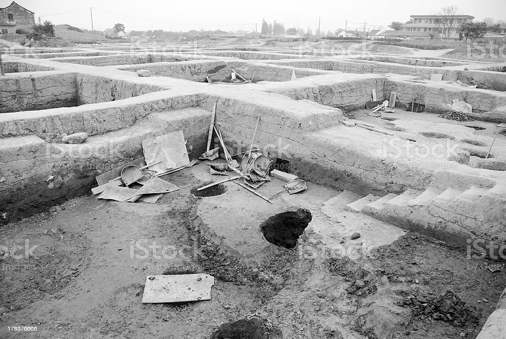 Excavate an archaeological site in China