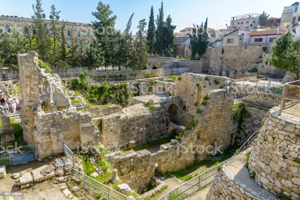 Excavated Ruins of the Pool of Bethesda and Church stock photo