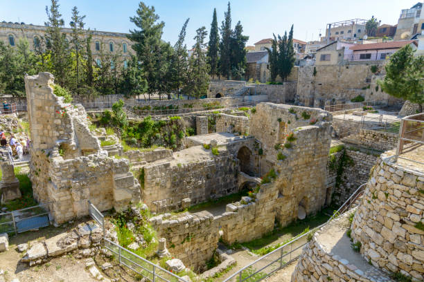 Excavated Ruins of the Pool of Bethesda and Church Excavated Ruins of the Pool of Bethesda and Church in Jerusalem muslim quarter stock pictures, royalty-free photos & images