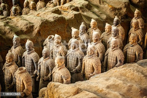 istock Excavated sculptures statues of the terracota army soldiers of Qin Shi Huang emperor, Xian, Shaanxi, China 1186902663