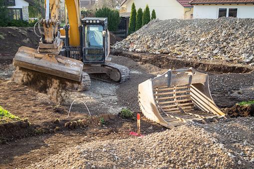 Baggerarbeiten auf der Baustelle