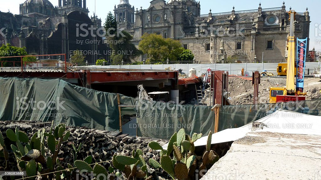 Excavations in the Great Temple in Mexico City stock photo