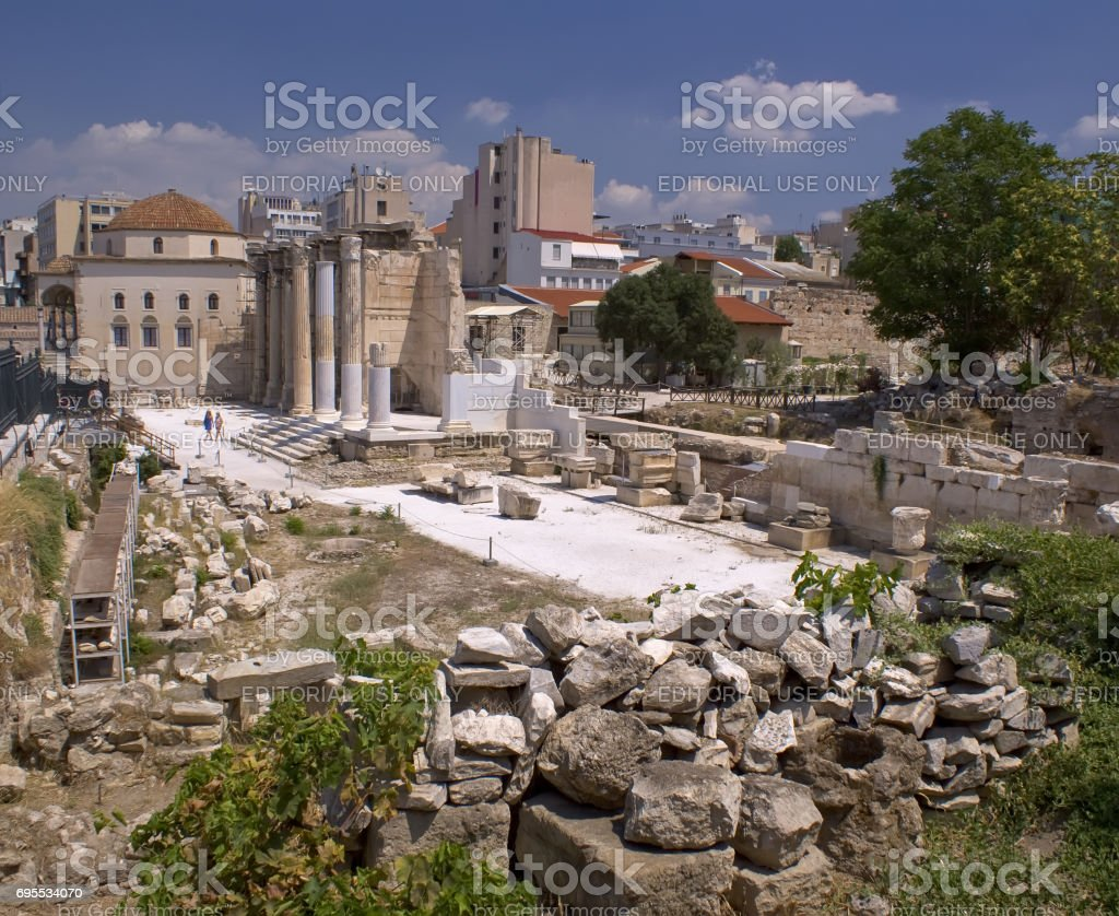 Excavations of ancient temples in Athens. The Architecture Of Ancient Greece.'n stock photo