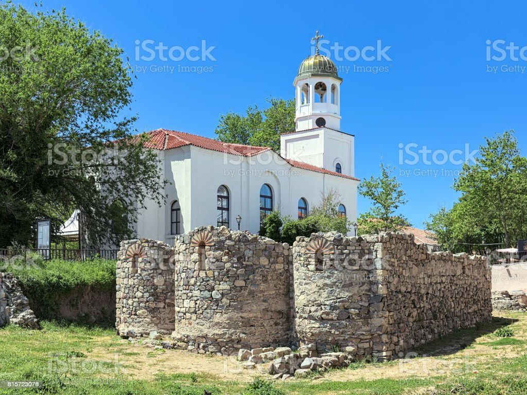 Excavations of St. Nicholas monastery and Church of St. Cyril and St. Methodius in Sozopol, Bulgaria stock photo