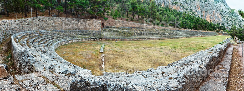 Excavations of the ancient Delphi city (Greece) stock photo